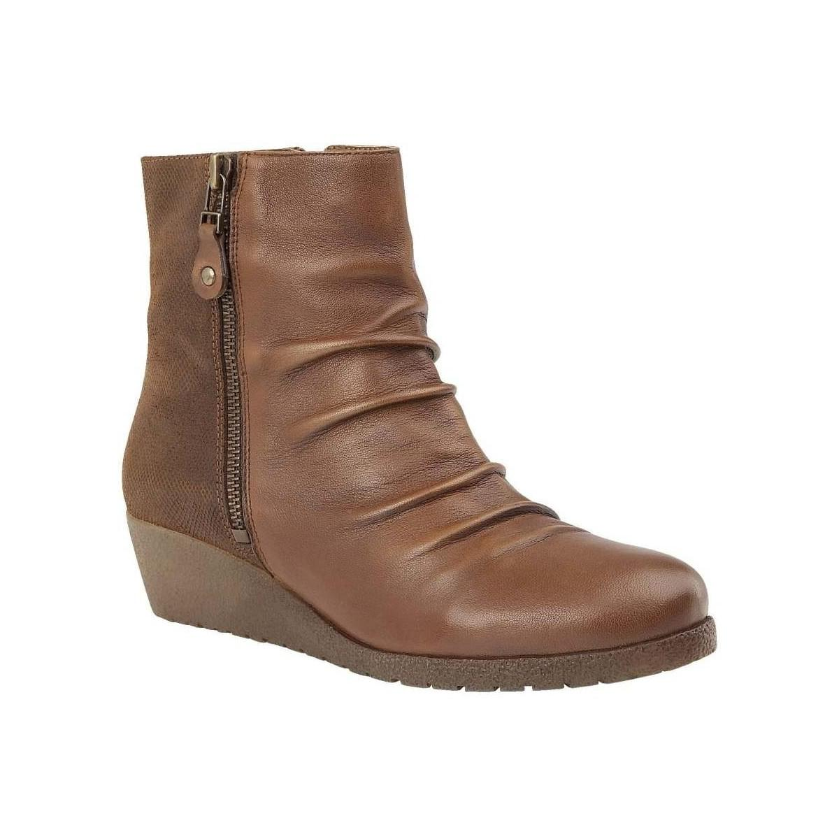 Lotus Sonora Womens Wedge Heel Ankle Boots Women's Low Ankle Boots In Brown