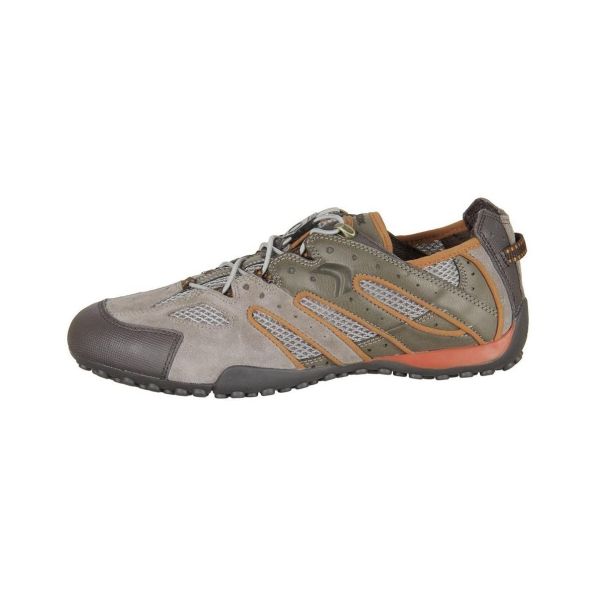 Geox Snake J Taupe Dk Orange Scam Mesh Dk Men's Shoes (trainers) In Grey in Grey for Men