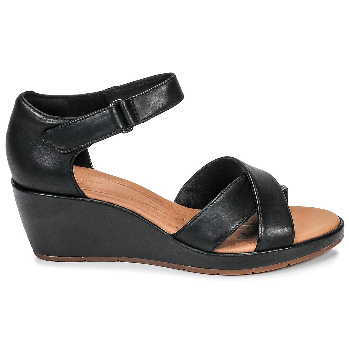e6729a0addb Clarks - Un Plaza Cross Women s Sandals In Black - Lyst. View fullscreen