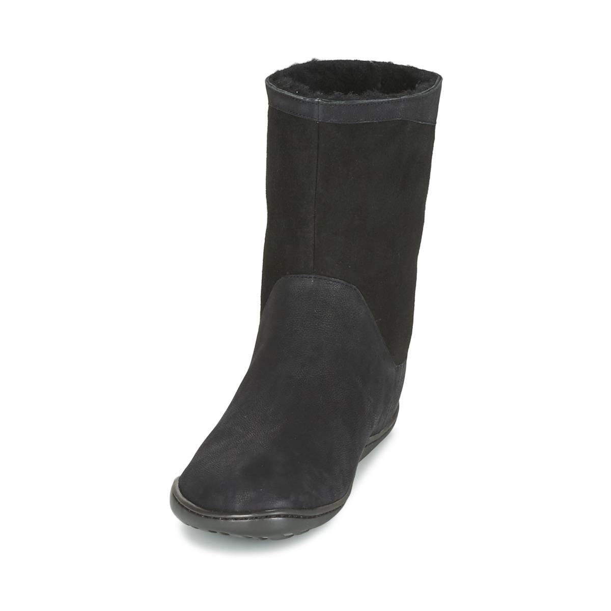 Camper Leather Peu Cami Women's Mid Boots In Black