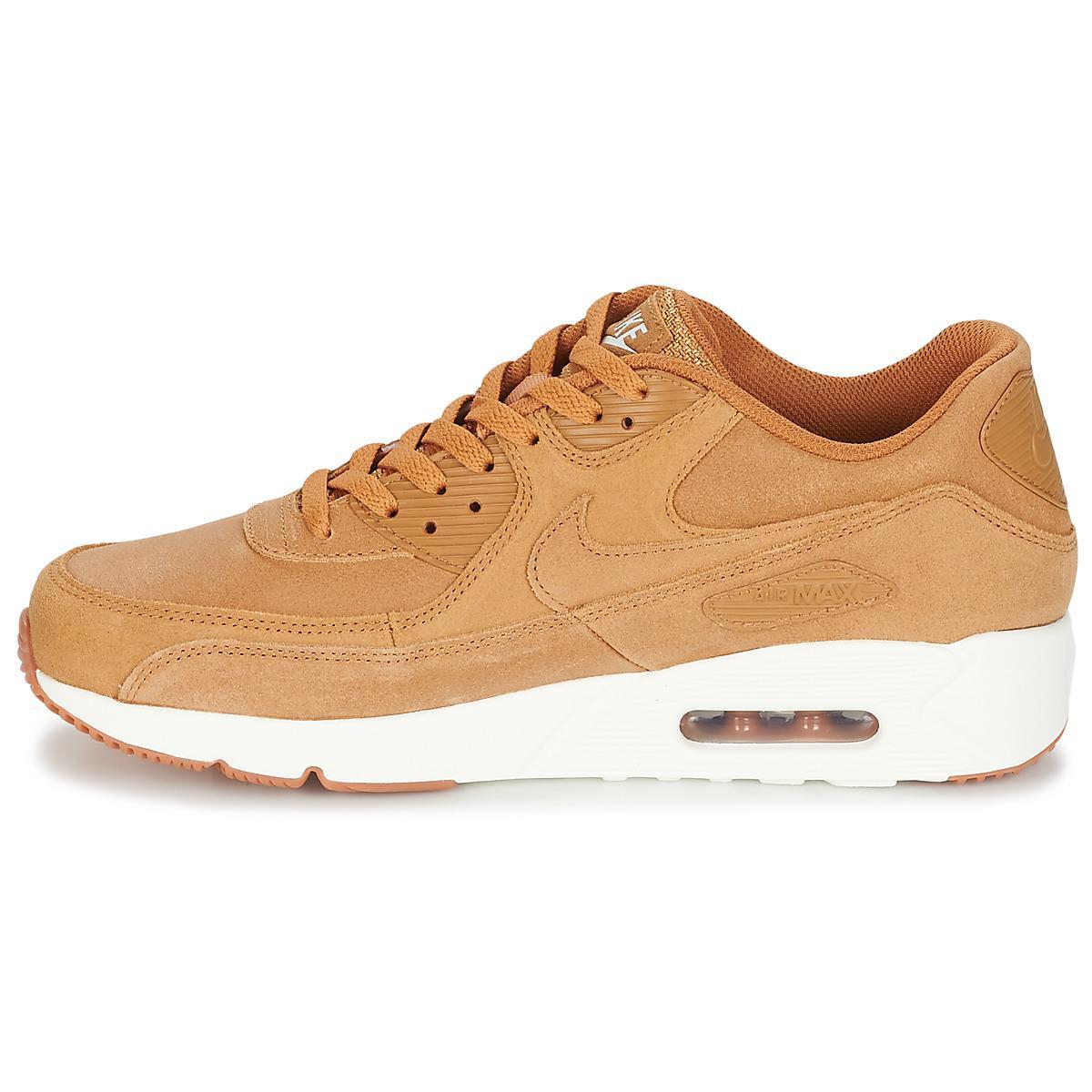 Nike Leather Air Max 90 Ultra 2.0 Ltr Gymnastics Shoes, Beige Wheat/lt Bone/gum Med Black/ale Brown 700, 6 Uk in Natural for Men