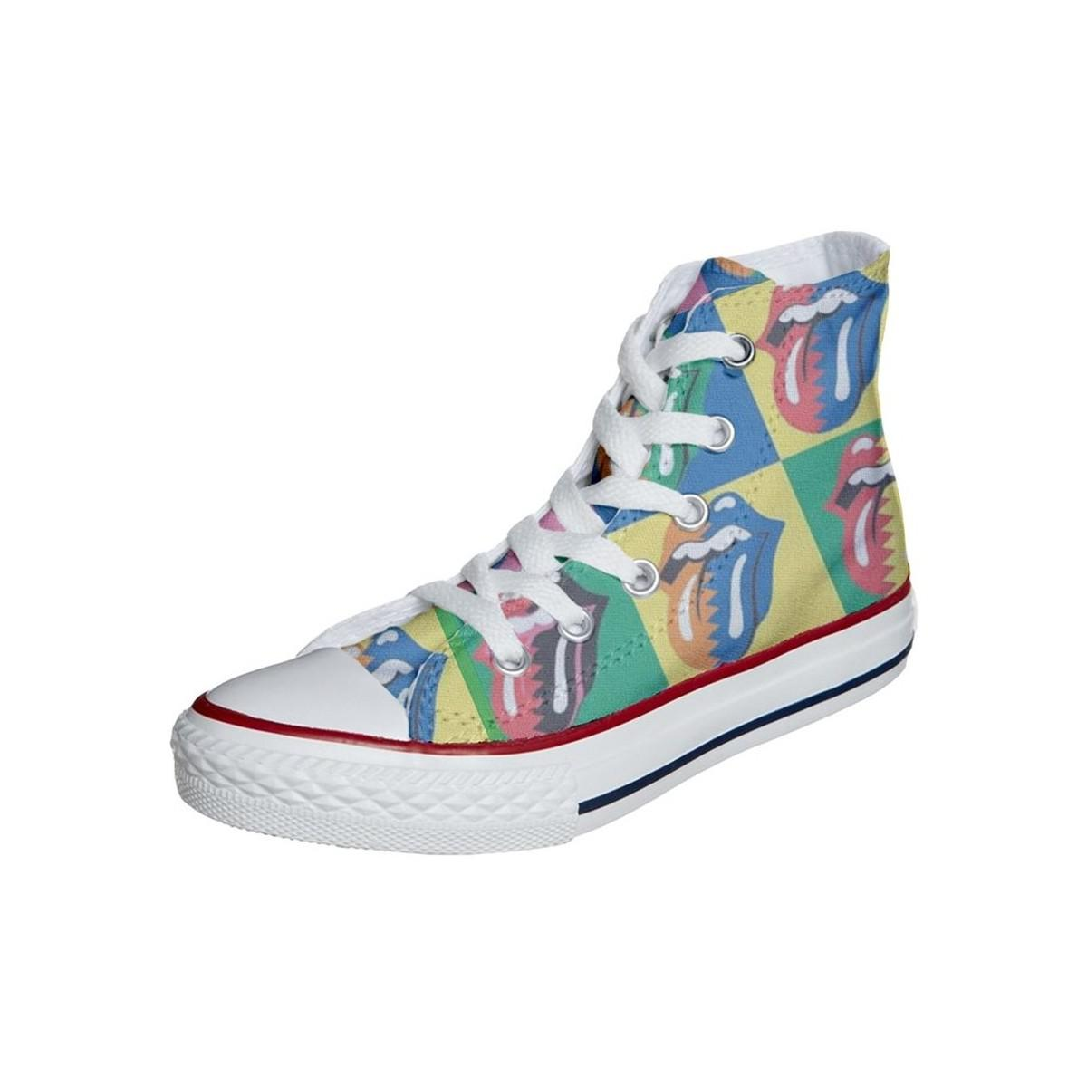 Converse Original Customized With Printed Italian Style Handmade Shoes Ro Women's Shoes (trainers) In Blue