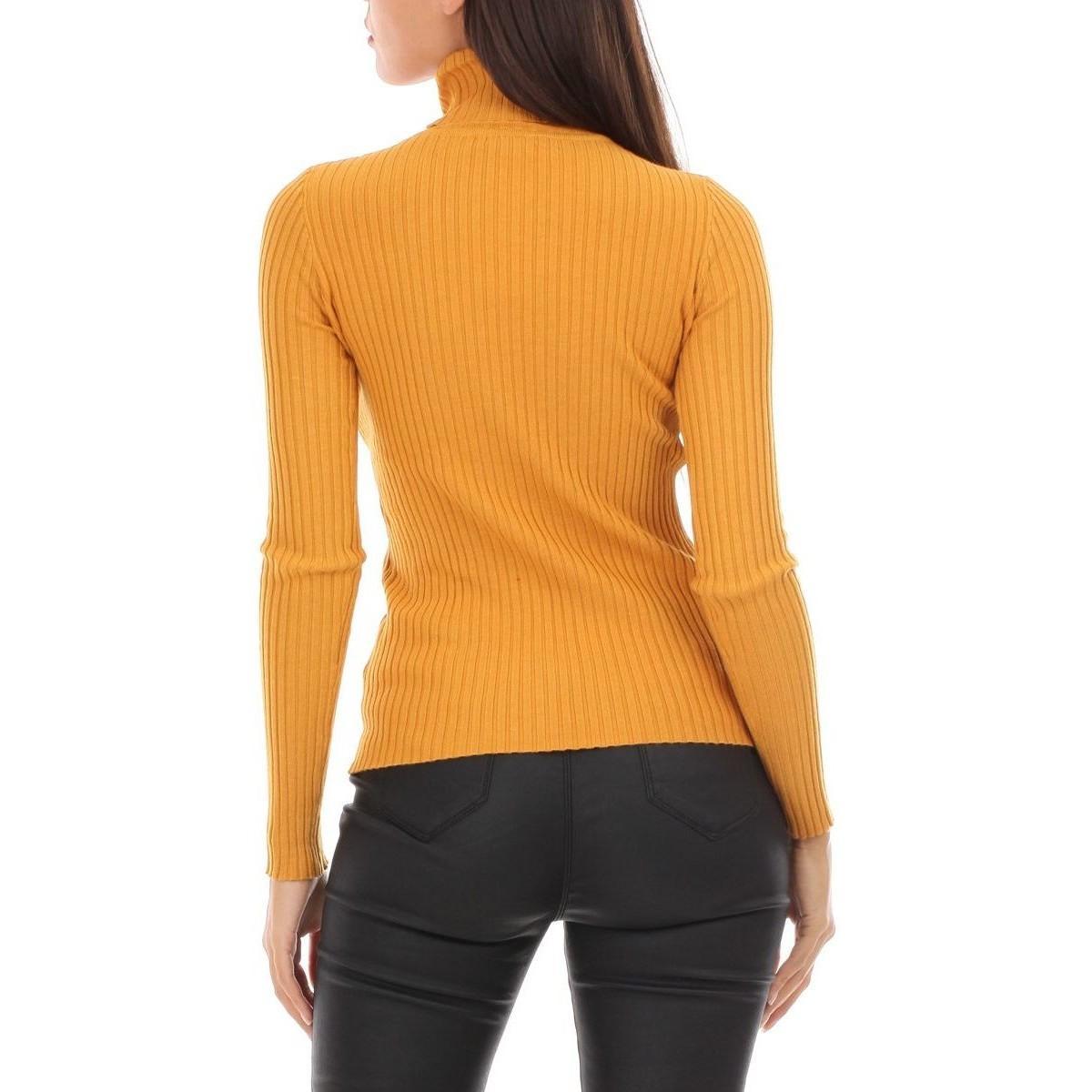Sous pull en maille côtelée moutarde Pull en Jaune La Modeuse en coloris Orange
