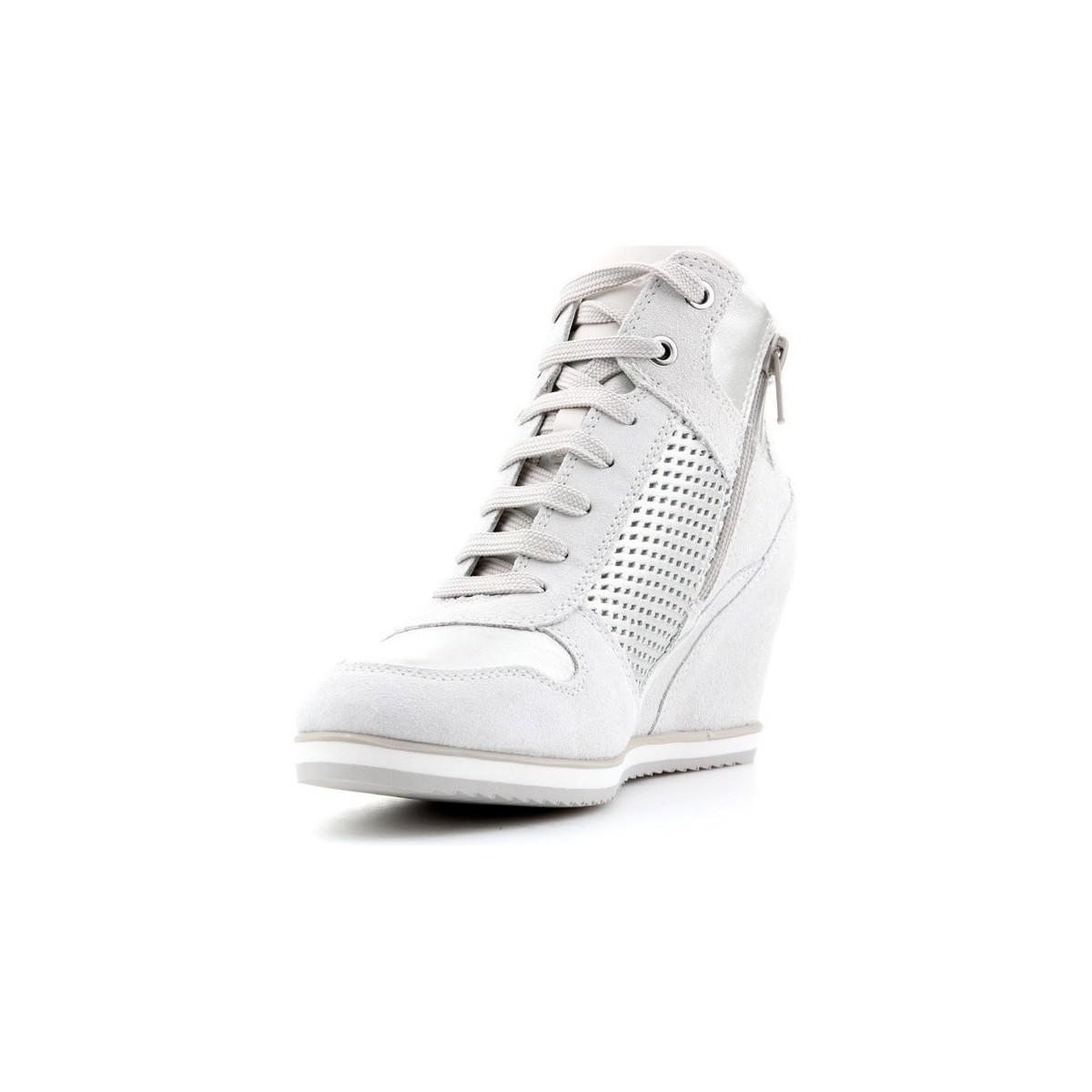 Geox D Illusion B Women's Shoes (high-top Trainers) In Silver in Metallic