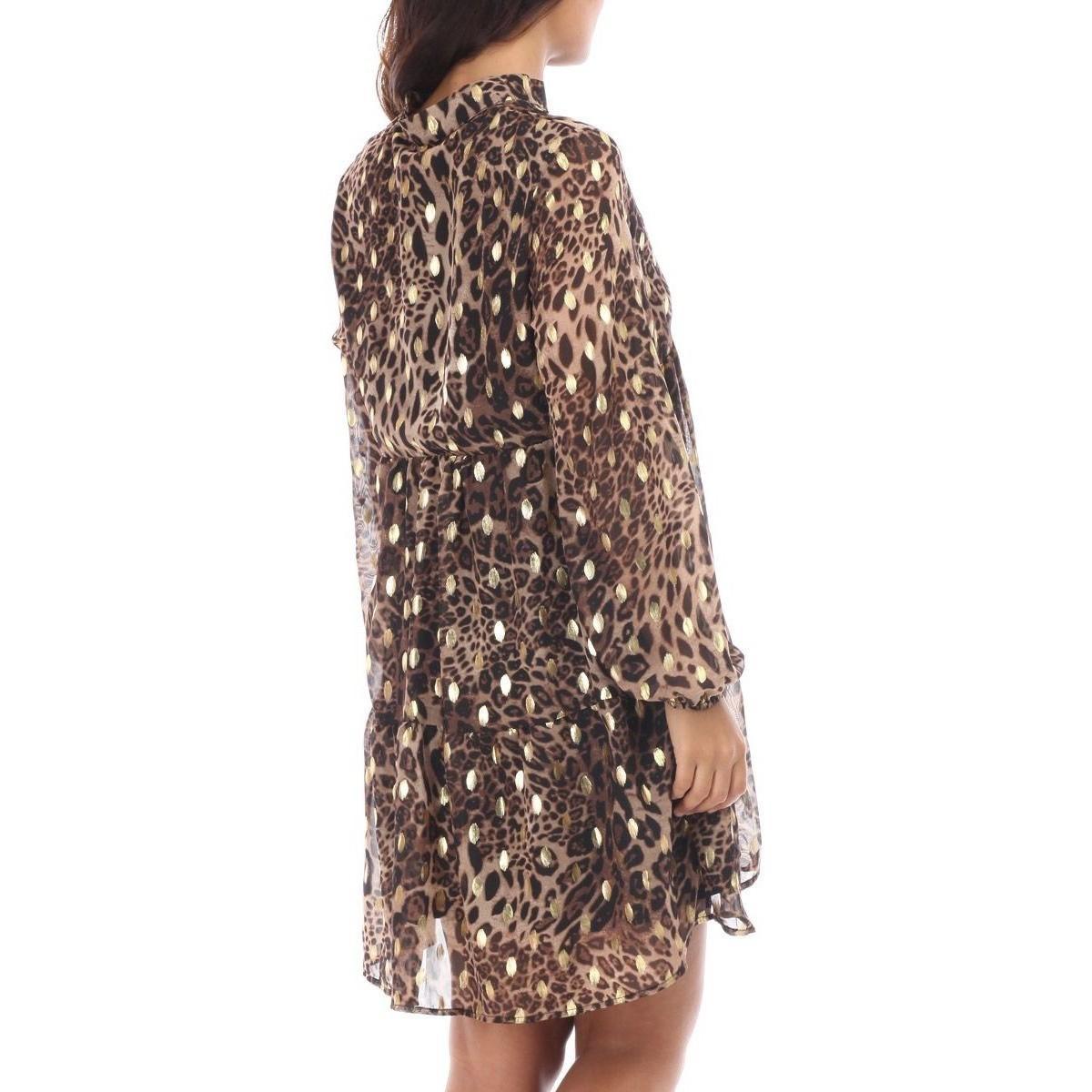 Robe à imprimé léopard et taches dorées Robe La Modeuse en coloris Marron