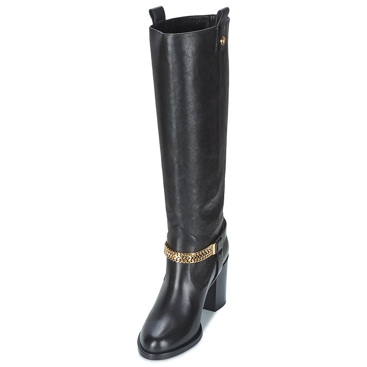 Versace Leather Rosa Women's High Boots In Black