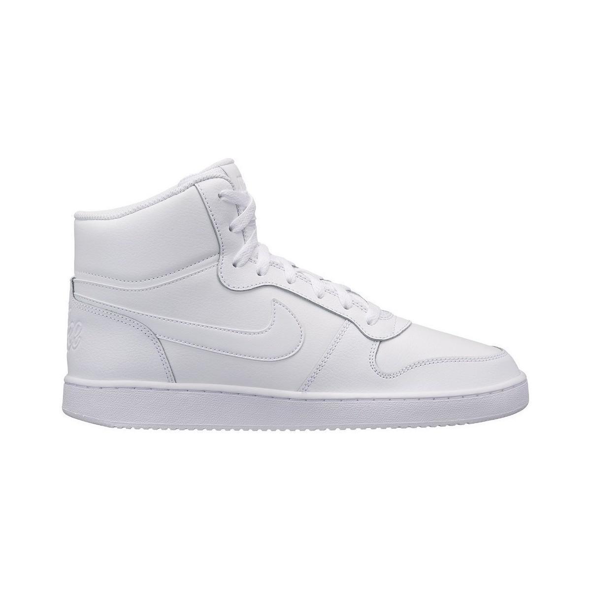 Nike Leather Court Borough Mid Basketball Shoes in White White White White (White) for Men