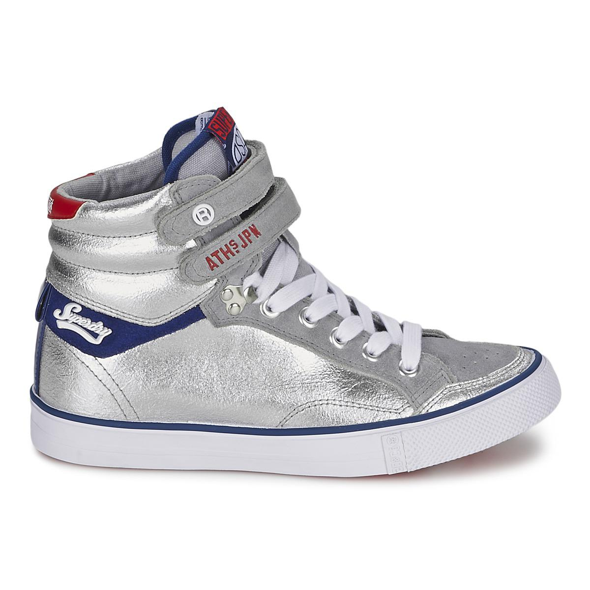 Superdry Leather Nano Crampon Sneaker Women's Shoes (high-top Trainers) In Silver in Metallic