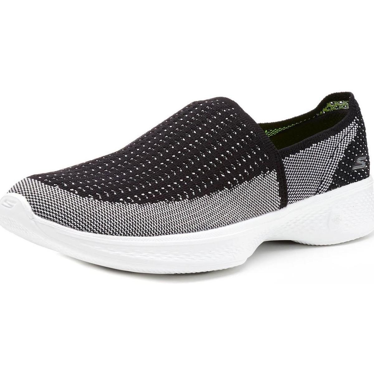 Skechers Gowalk 4 Ravish Women Trainers In Black White 14924 Bkw Women's Slip-ons (shoes) In Black