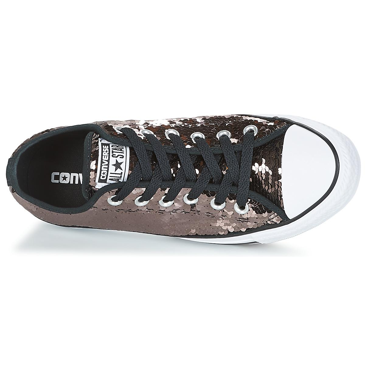Converse Chuck Taylor All Star Sequins Ox Gunmetal/white/black Women's Shoes (trainers) In Brown