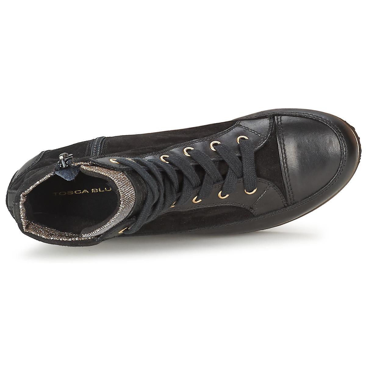 Tosca Blu Leather Bangkok Women's Shoes (high-top Trainers) In Black