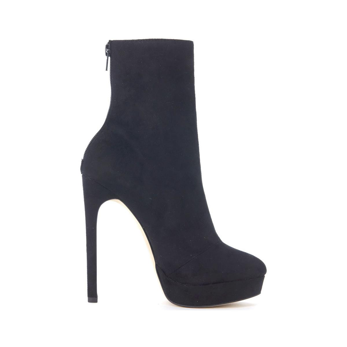 Steve Madden Black Suede Leather Ankle Boots Women's Court Shoes In Black