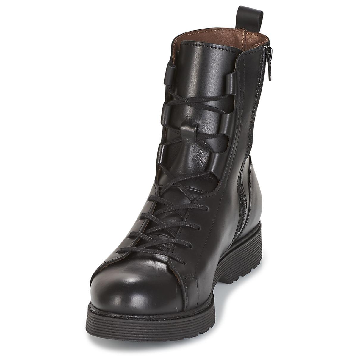 IKKS Leather High Rangers Iskar Women's Mid Boots In Black