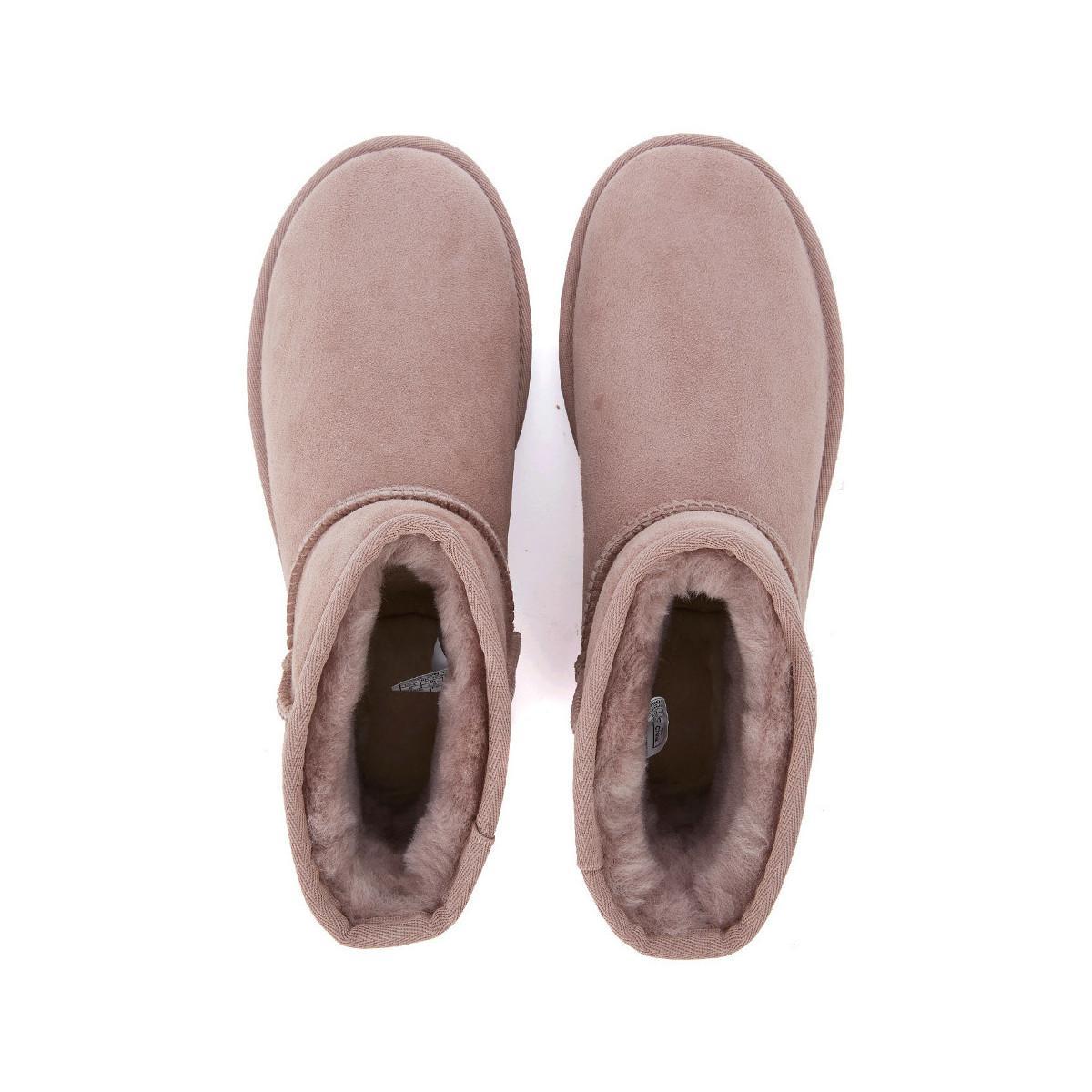 UGG Tronchetto Classic Mini In Montone Rovesciato E Pelle Metall Women's Mid Boots In Pink