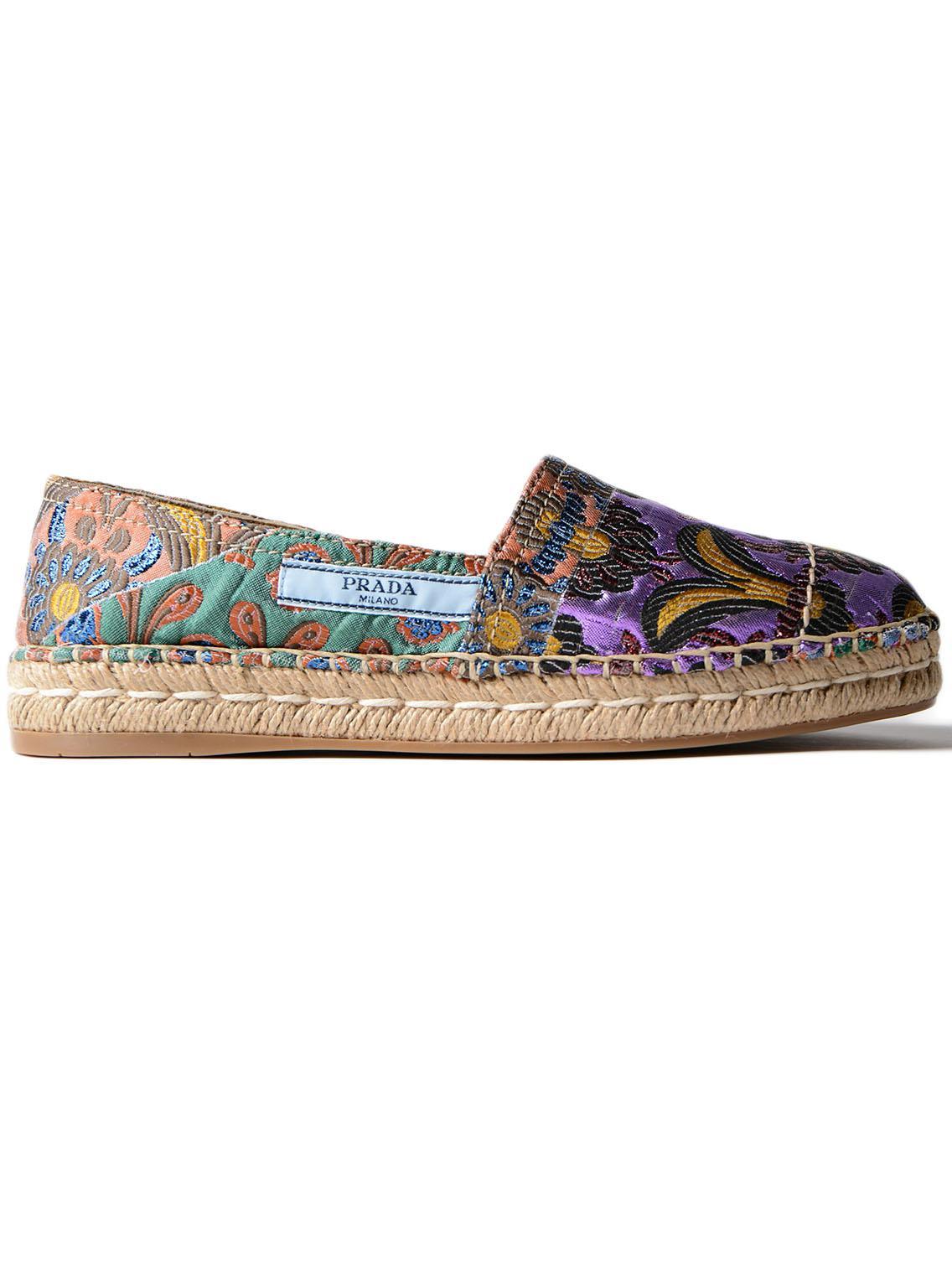 570f8cf31b163 Prada - Multicolor Lurex Patch Slippers - Lyst