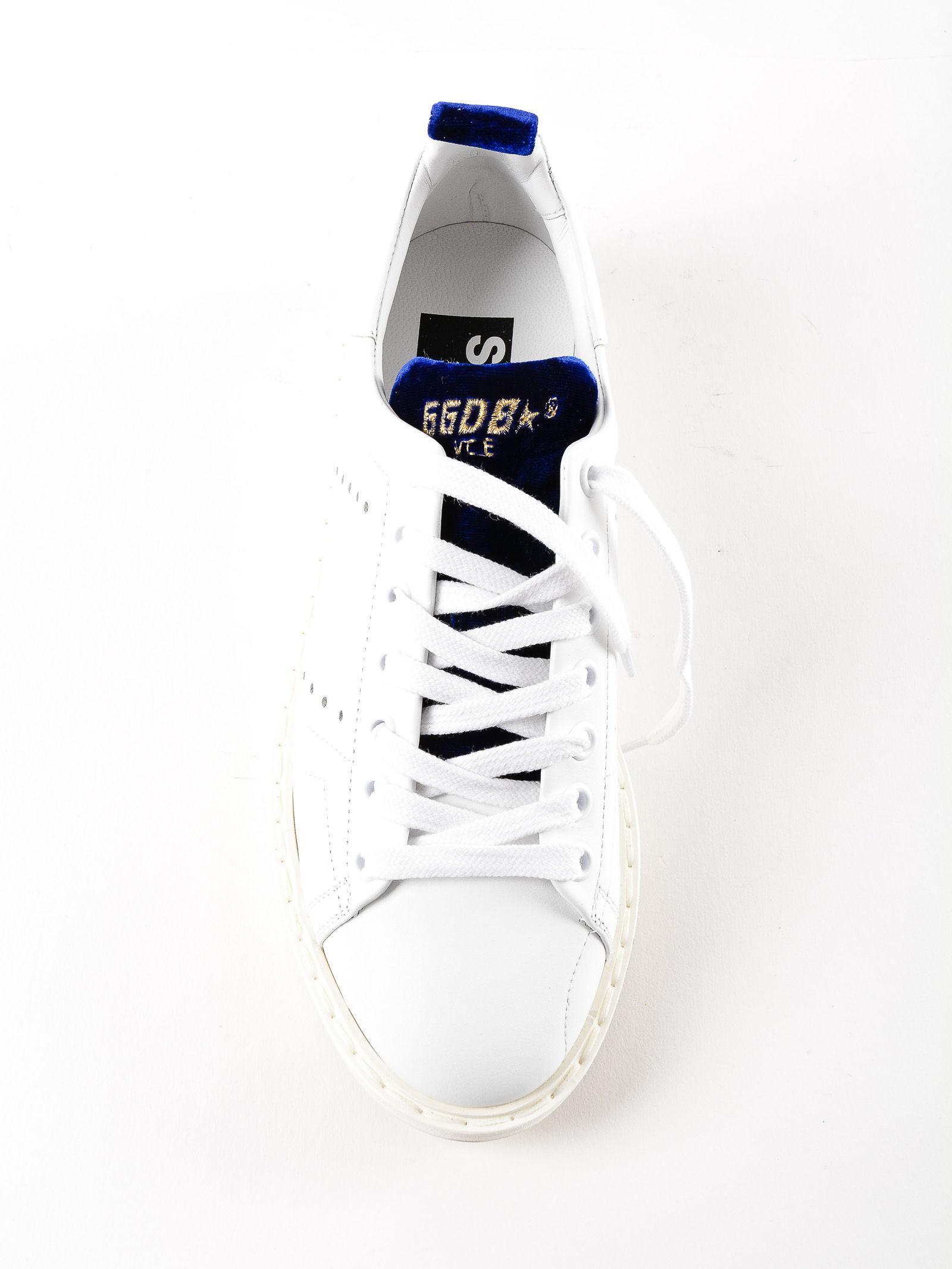 Golden Goose Deluxe Brand Sneakers Starter Bluette Velvet in White