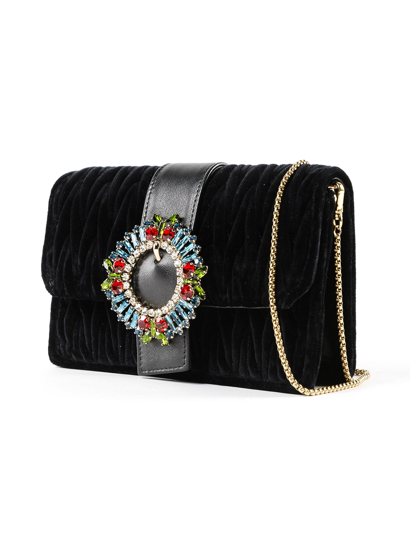 30cf4d8bdbab Miu Miu Velvet Crossbody Bag in Black - Lyst