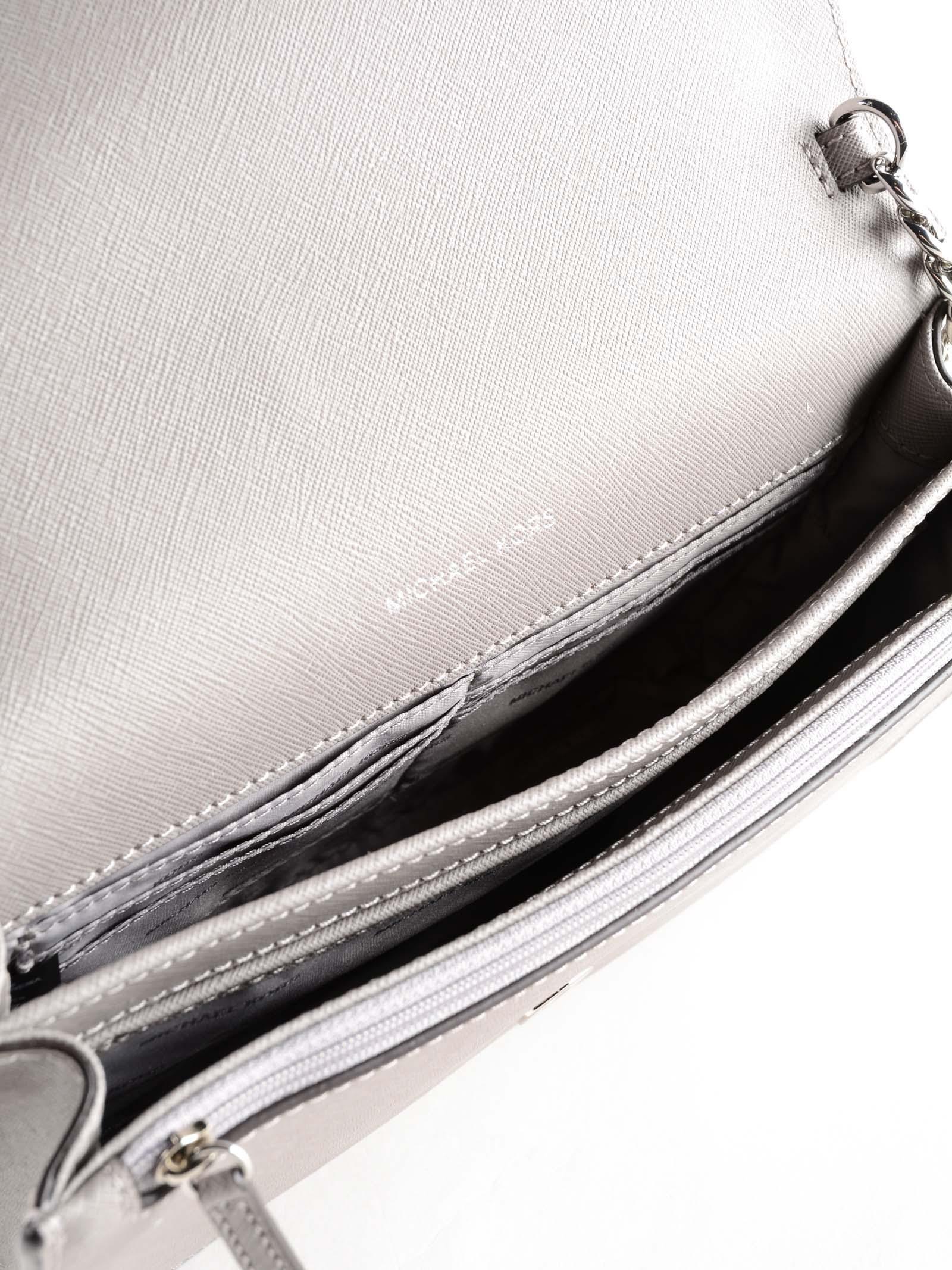 Michael Kors Leather Crossbodies Lg Gusset Crossbody in Grey