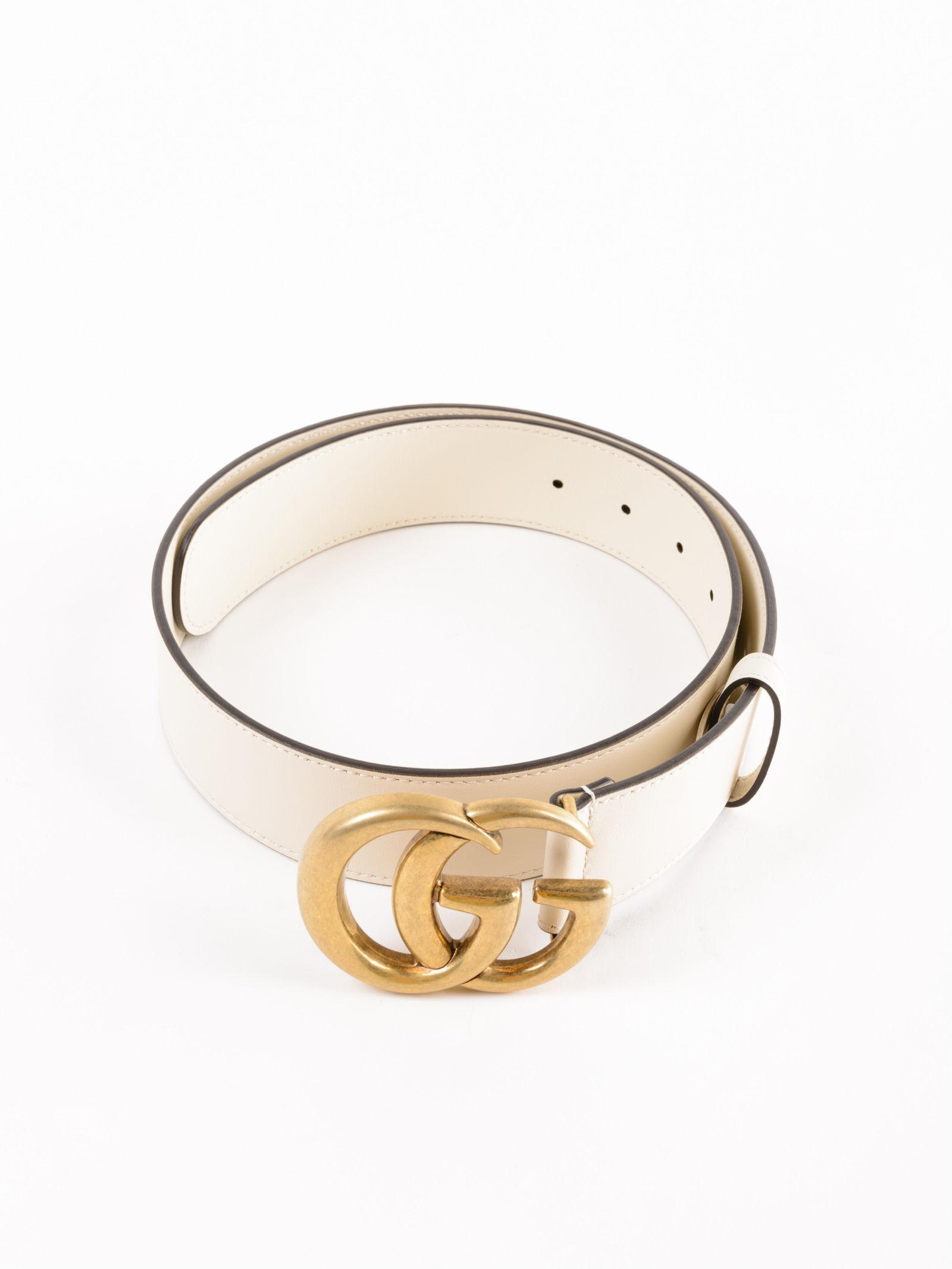 98b9ce503a9 Lyst - Gucci W Gg Marmont Belt 40mm in White