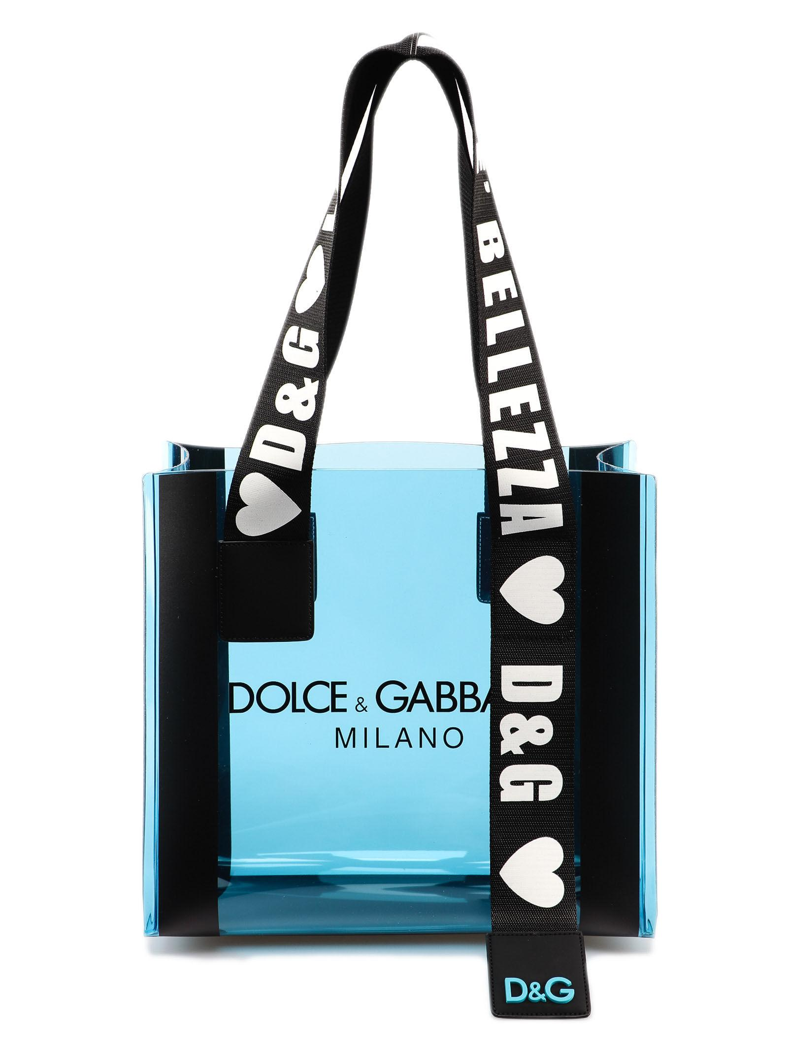 d1c2f7eed028 Lyst - Dolce   Gabbana Logo Print Tote Bag in Blue - Save 29%