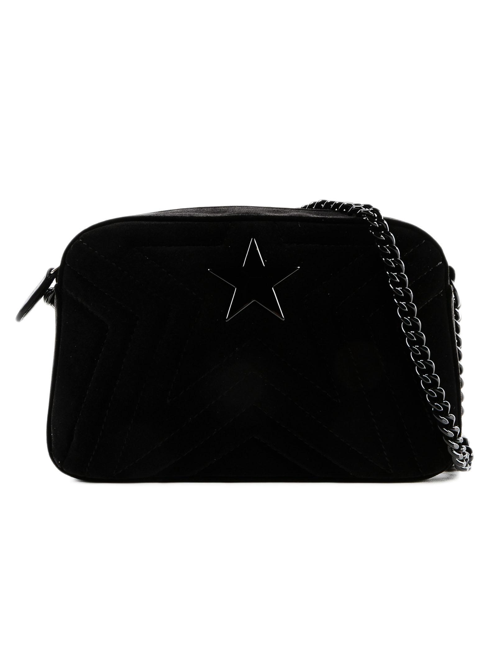 Lyst - Stella McCartney Small Stella Star Velvet Bag in Black 960e6716646ed