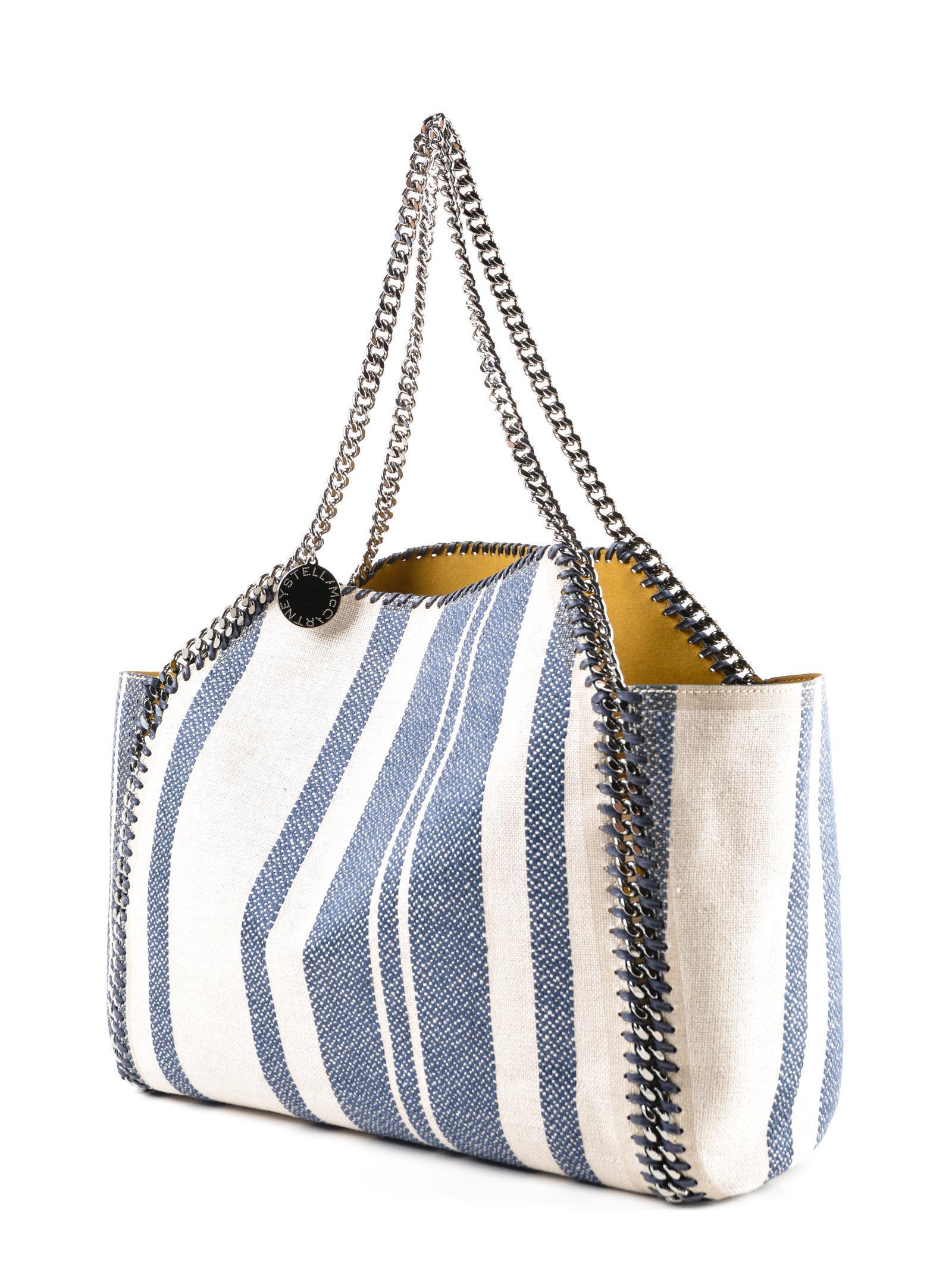 Stella McCartney Linen Striped Small Tote Falabella in Blue