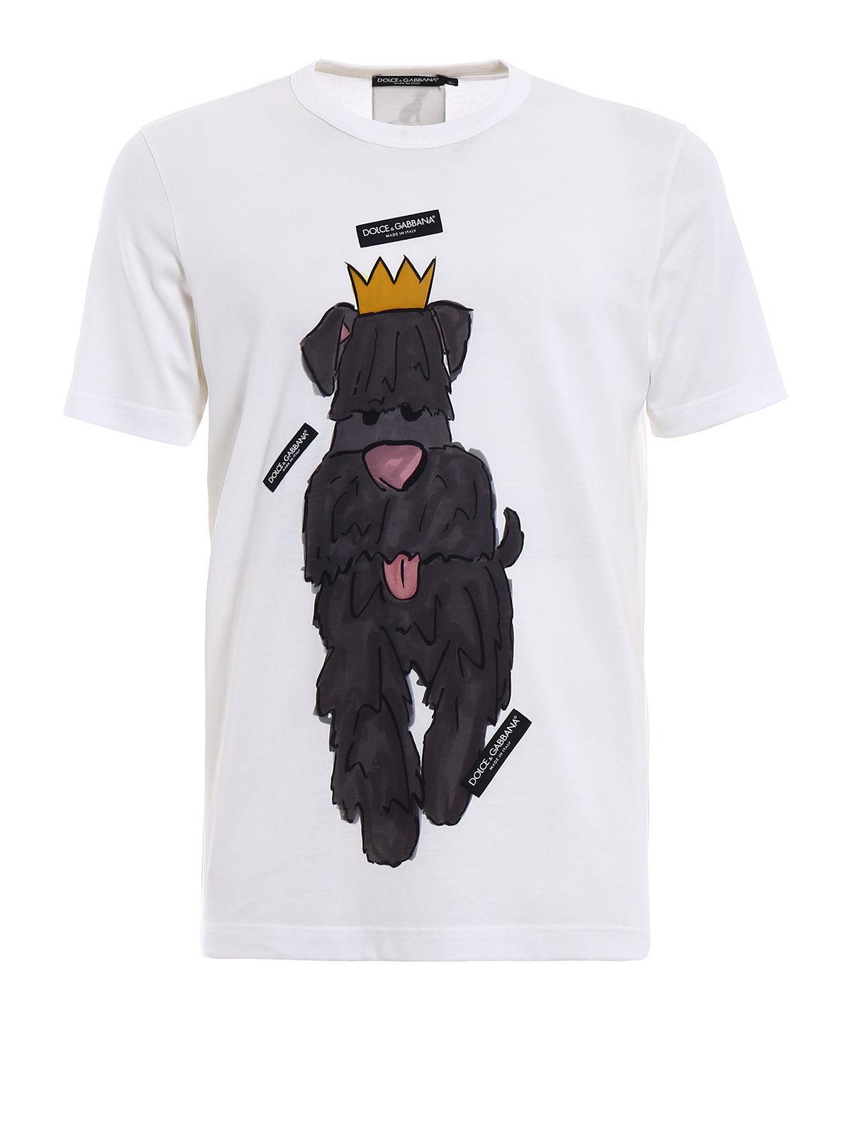 e32f7217410d0c Dolce   Gabbana T-shirt Dogs Print in White for Men - Lyst