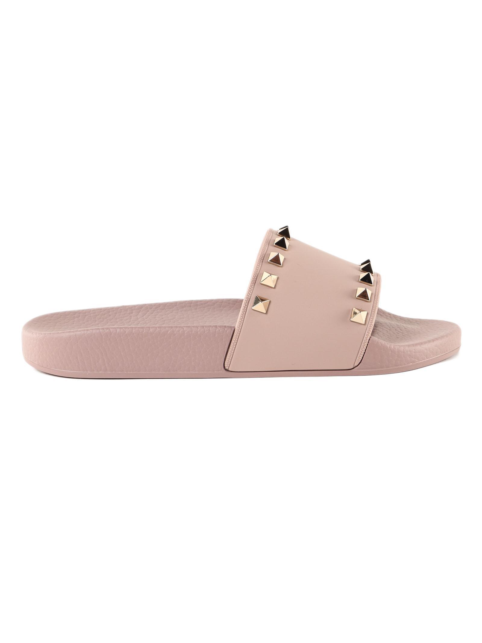 4c49f83f712b Valentino Rockstud Slide Sandal in Pink - Lyst