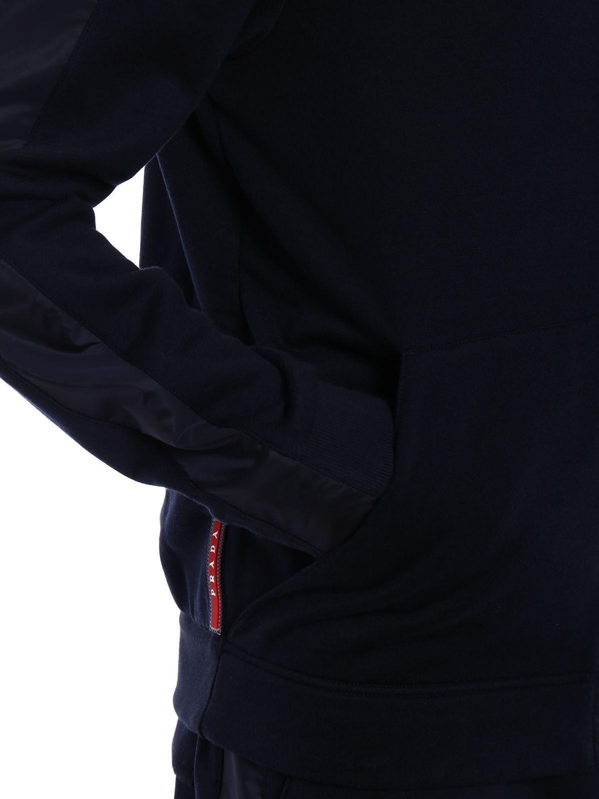online retailer f9c43 a23fb Prada Blue Felpa Jersey Blouson Cap for men