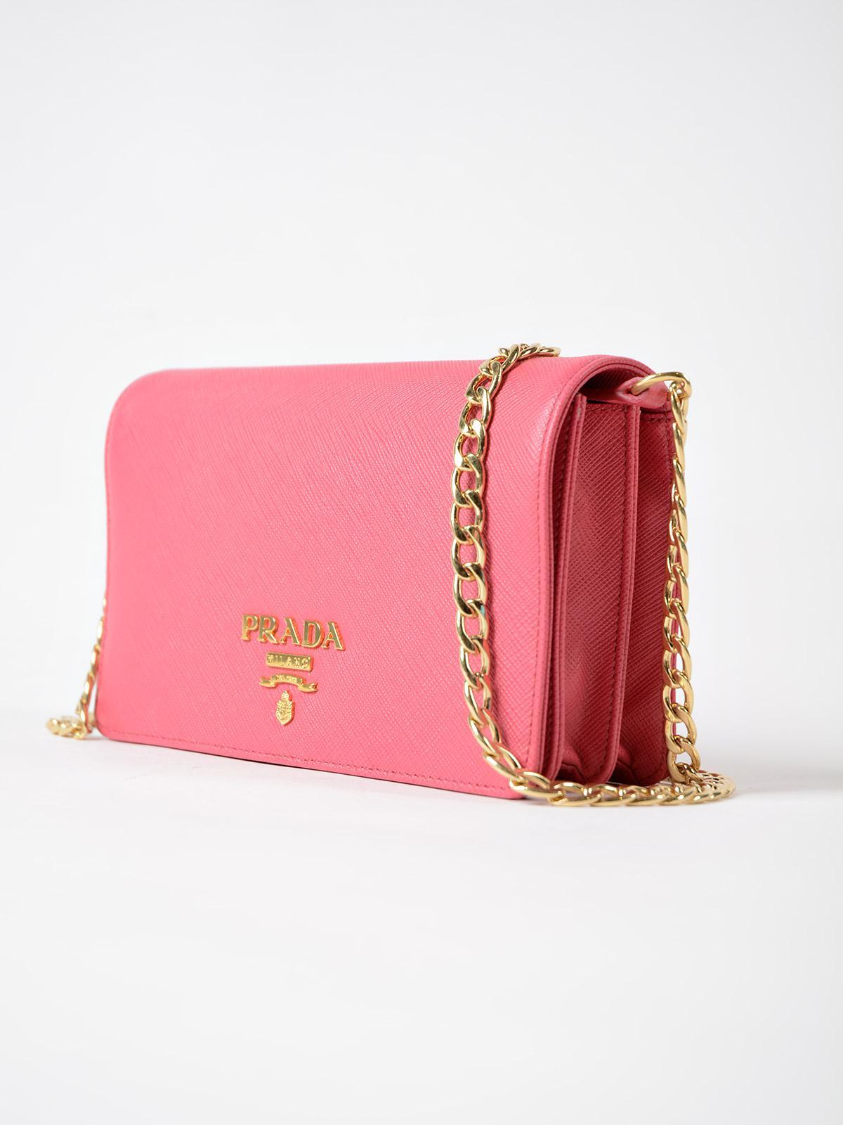 Prada Leather Saffiano Lux Crossbody in Pink
