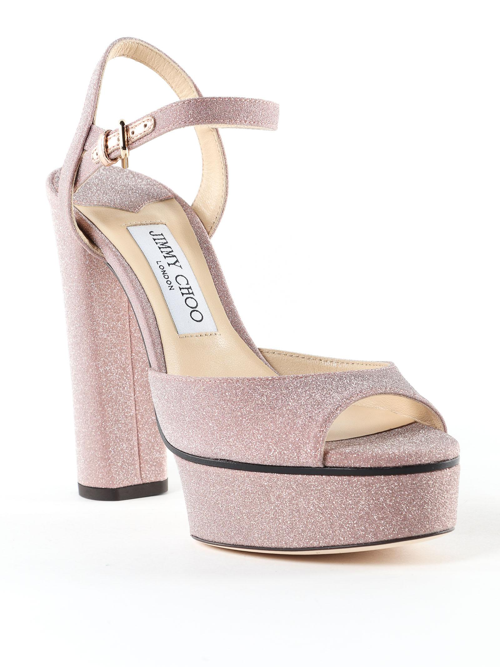d0a3eb3a191 Jimmy Choo Fine Glitter Fabric Sandal in Pink - Lyst