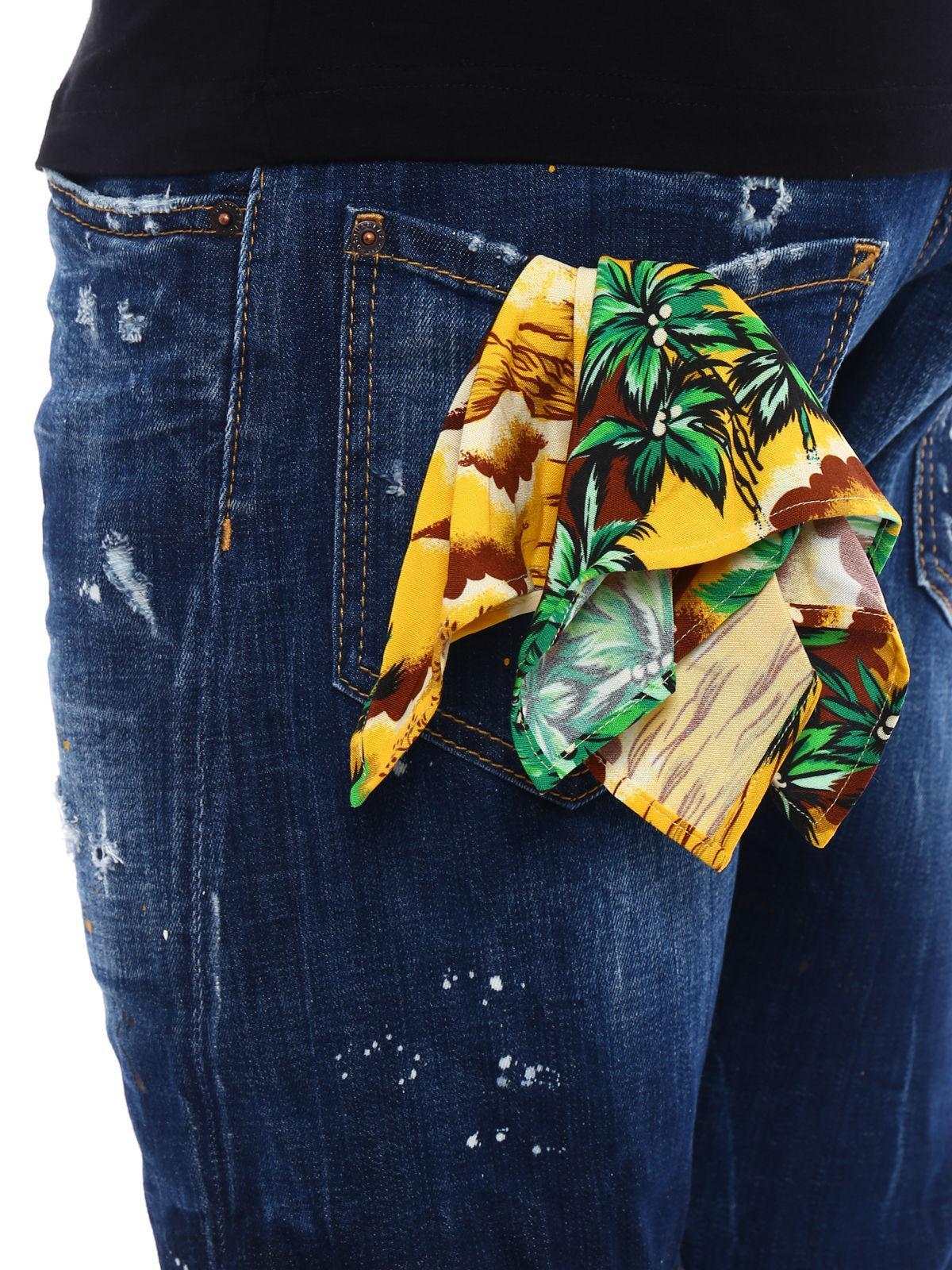 715d8c65 DSquared² Sexy Twist Denim Pocket Pochette Hawaii in Blue for Men - Lyst