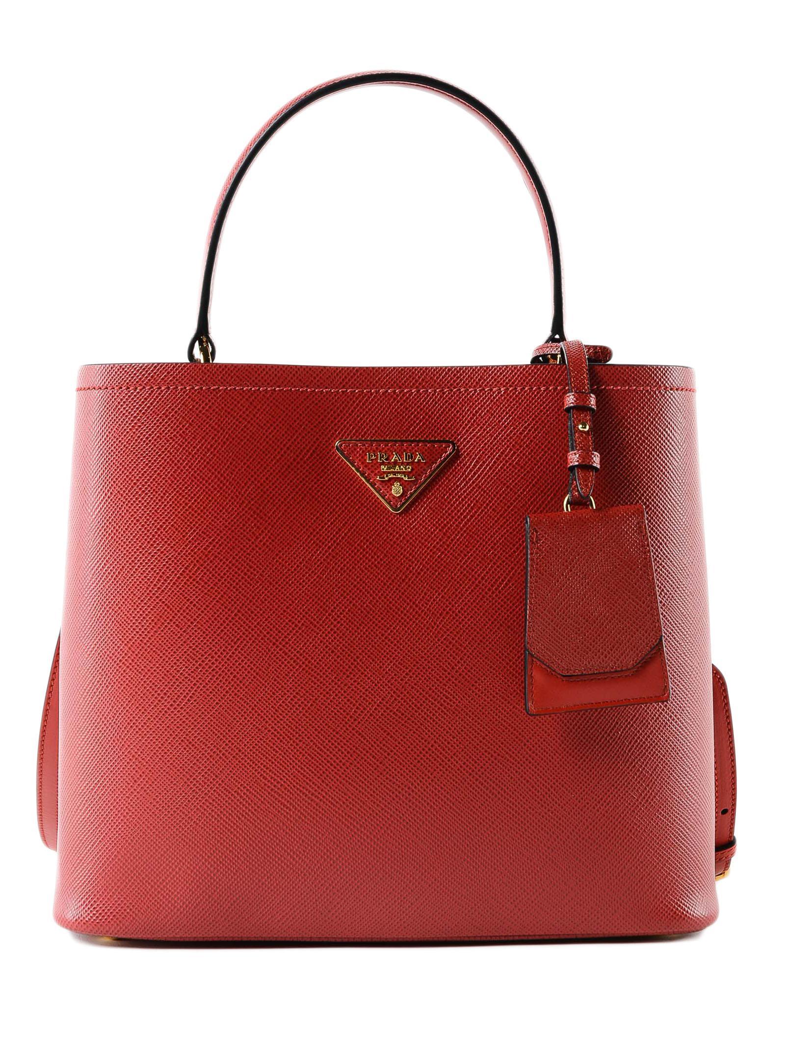 a527a940d2a4 Prada - Red Handbag Saffiano+city Calf - Lyst. View fullscreen