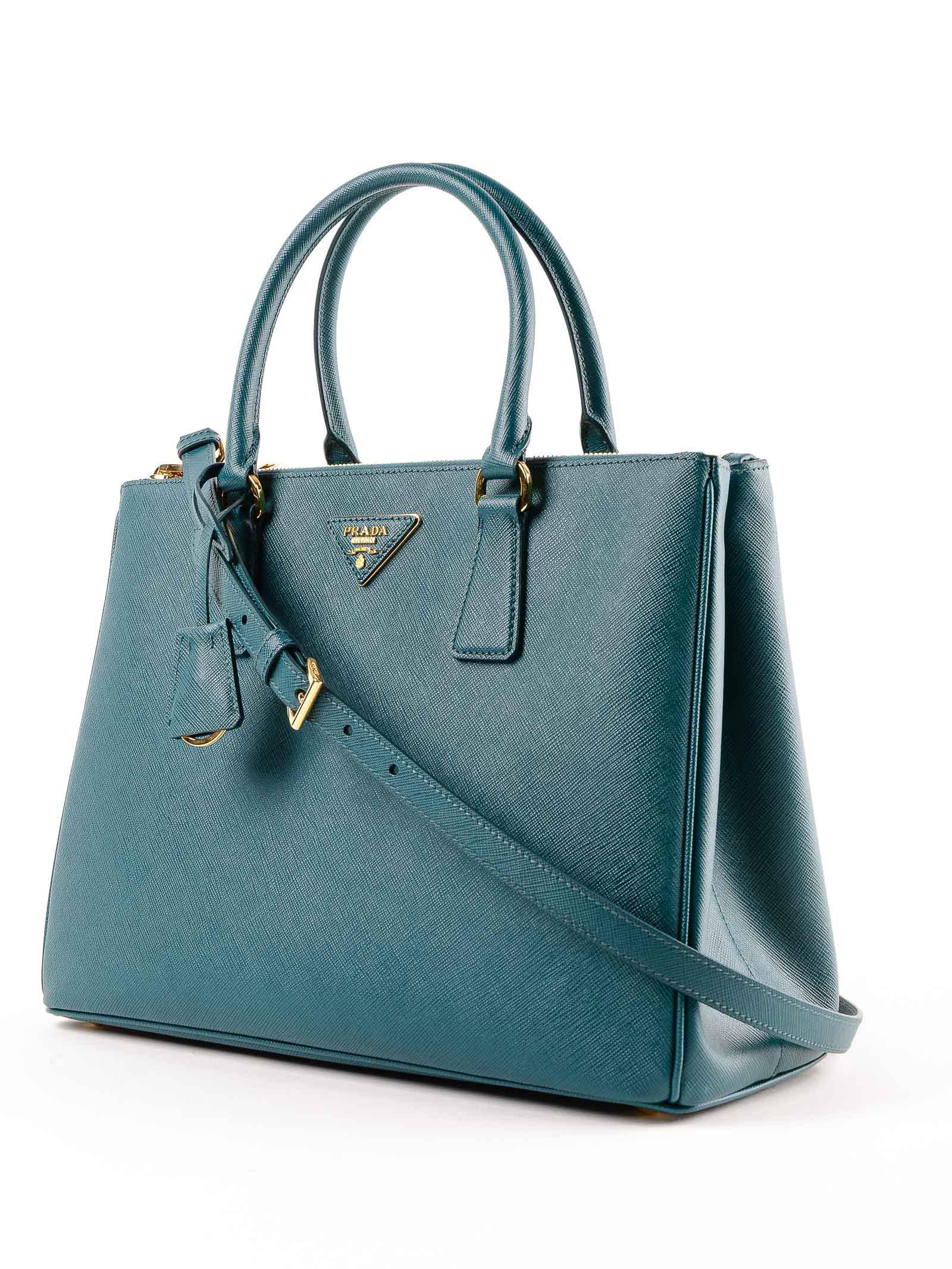 9e555b6bd9de ... good lyst prada galleria handbag saffiano lux in blue b041b 04116