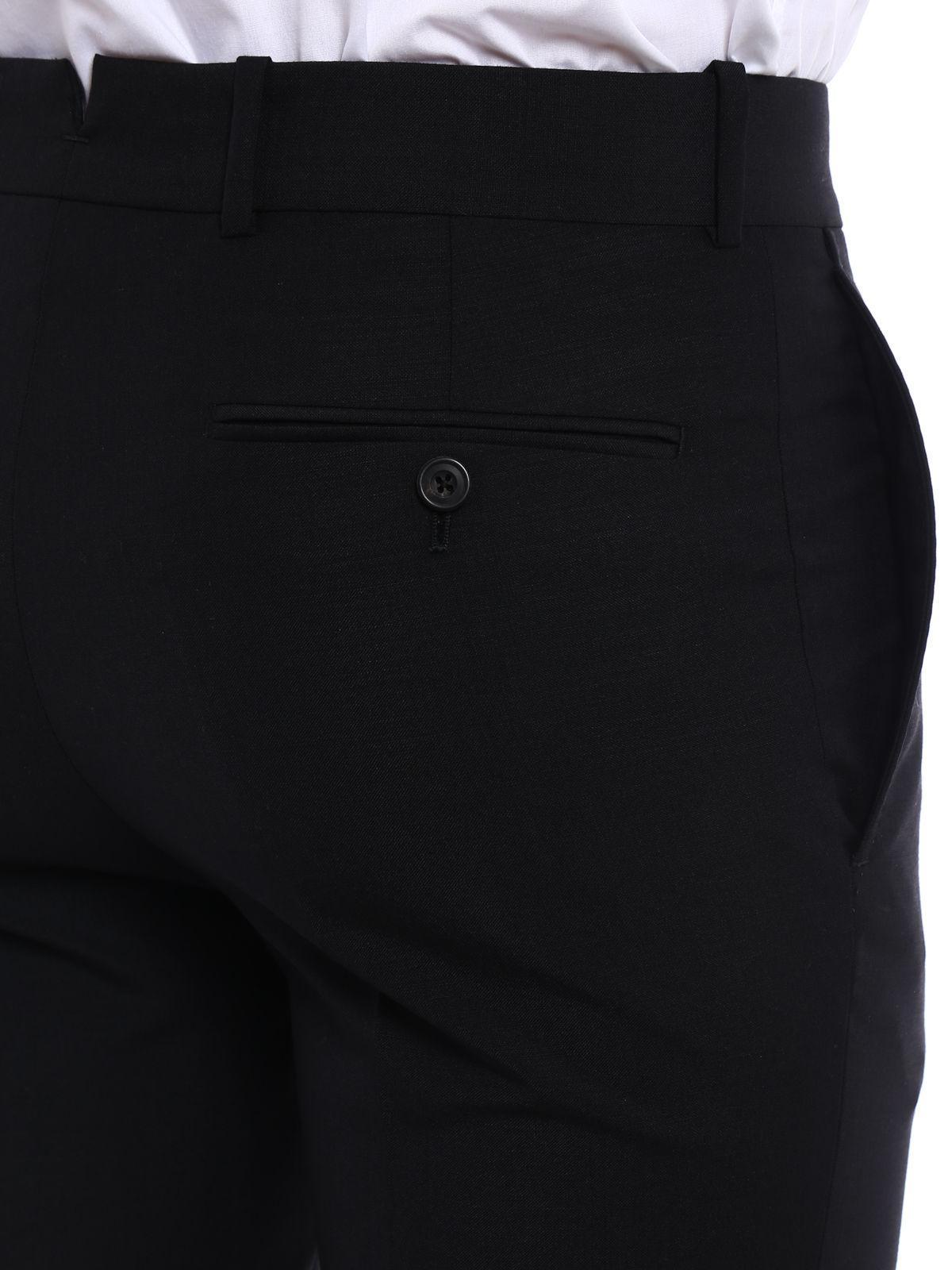 Alexander McQueen Wool Trousers in Black for Men
