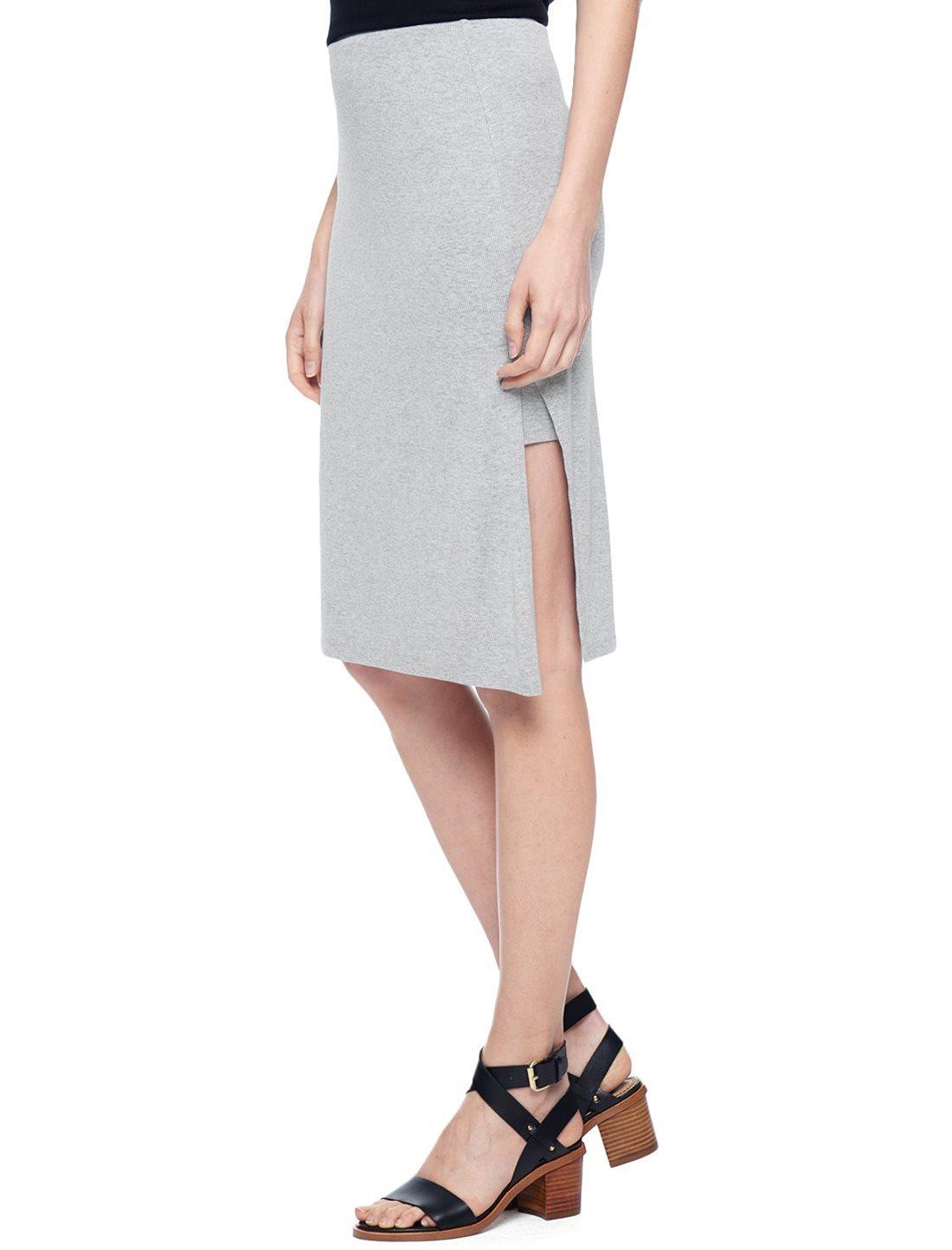 splendid midi pencil skirt in gray lyst