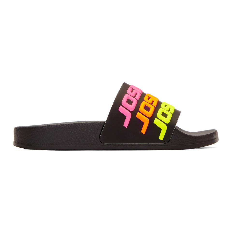 Joshua Sanders Black Multicolor Logo Sandals