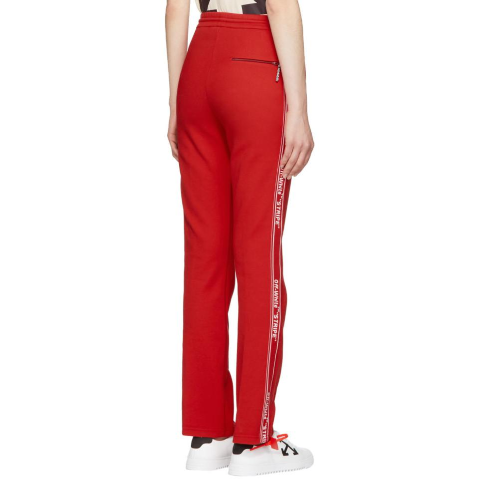 04816093 Off-White c/o Virgil Abloh Red Logo Tape Track Pants in Red - Lyst