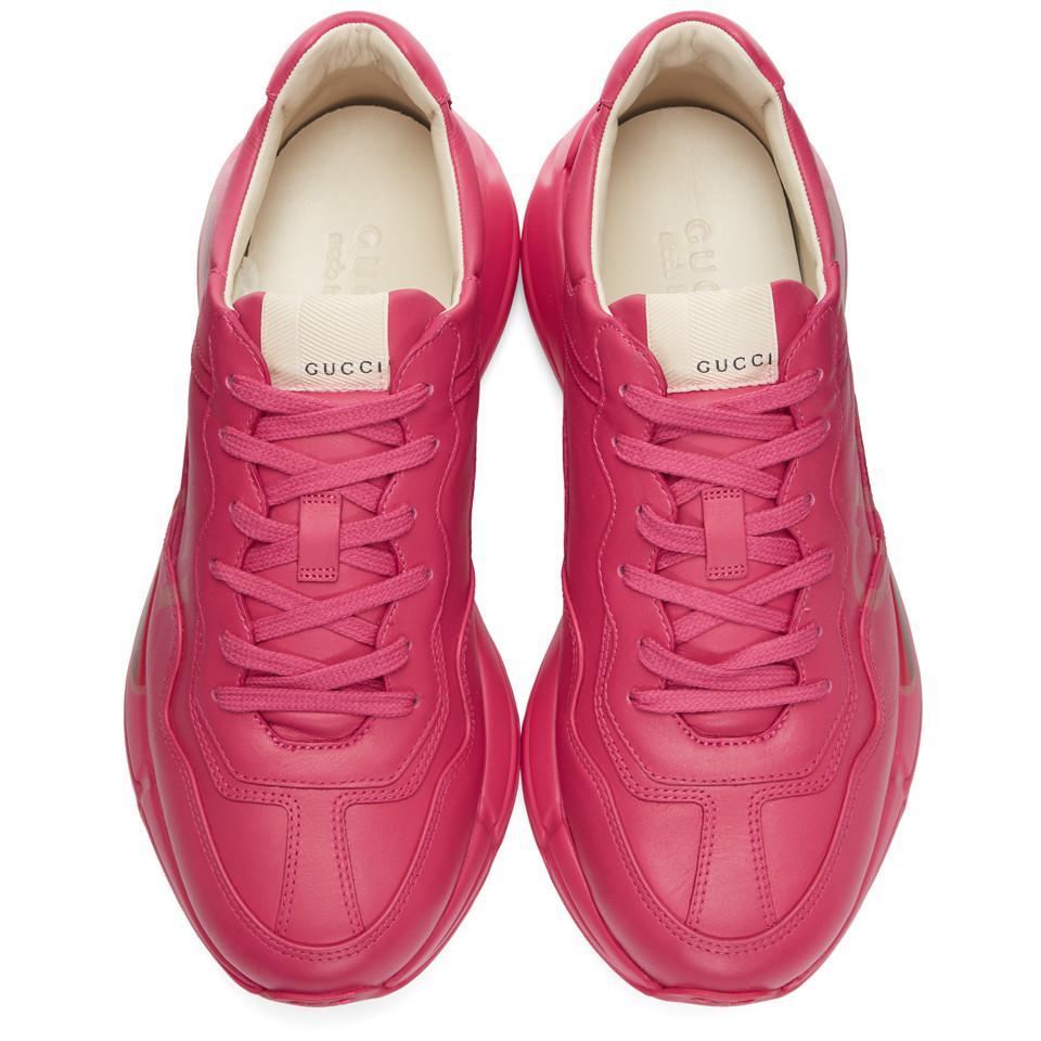 a1089c59d77 Gucci - Pink Vintage Logo Rhyton Sneakers for Men - Lyst. View fullscreen