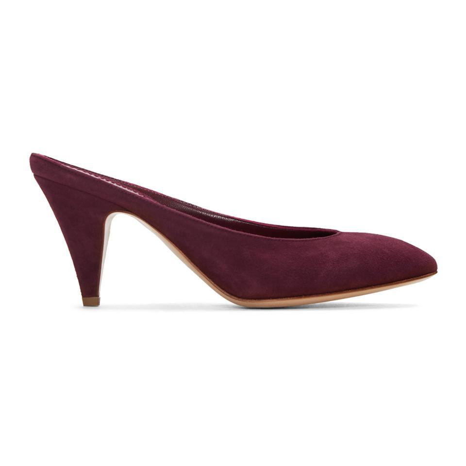 Mansur Gavriel Purple Suede Classic Slipper Heels eRK1dR