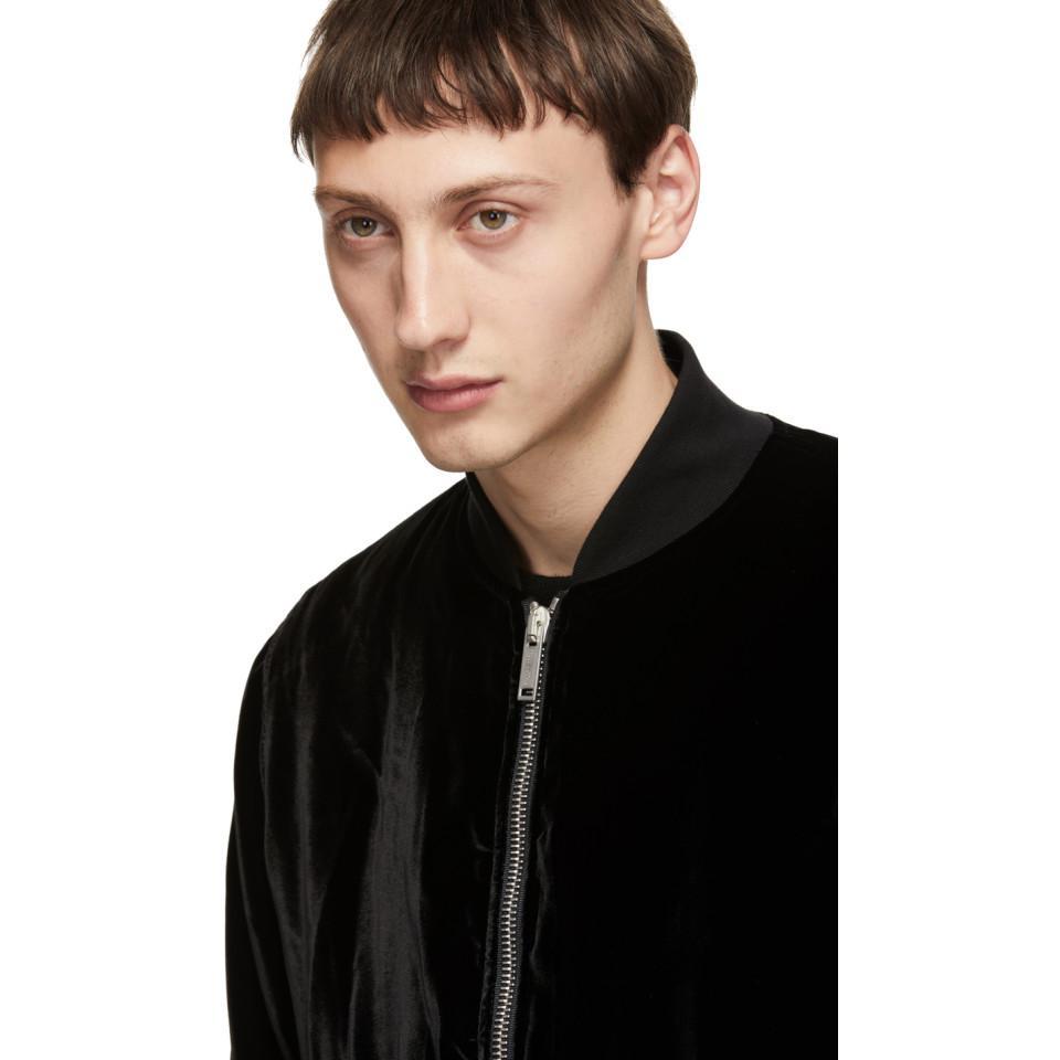 Unravel Project Black Velvet Basic Bomber Jacket for Men