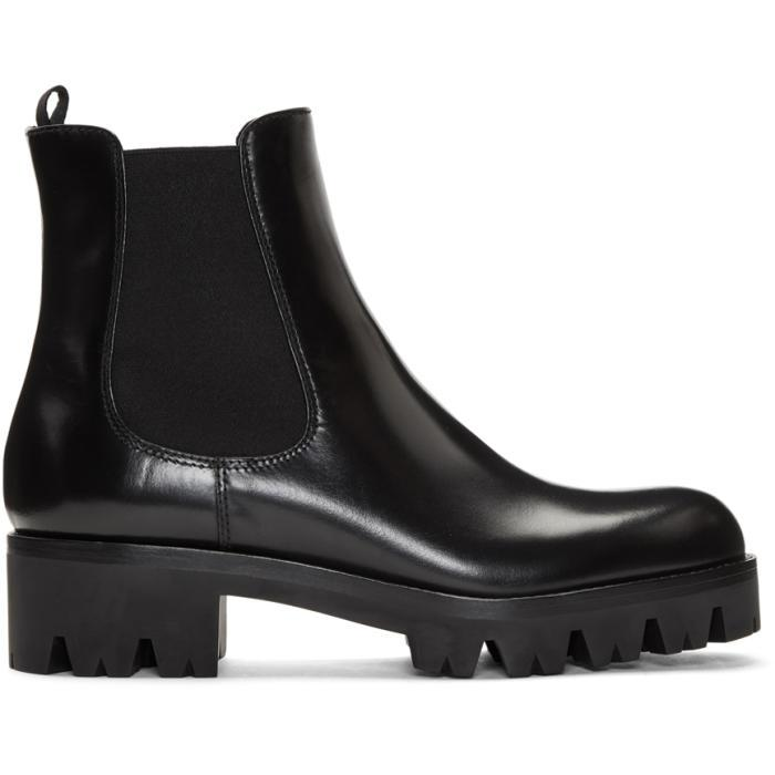 d2f434bb Prada Black Lug Sole Chelsea Boots