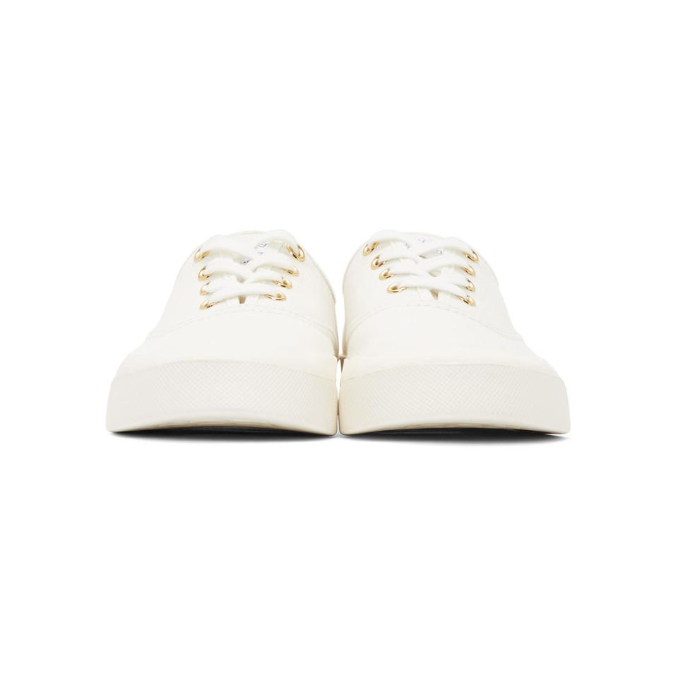 Maison Kitsuné Canvas White Laced Sneakers