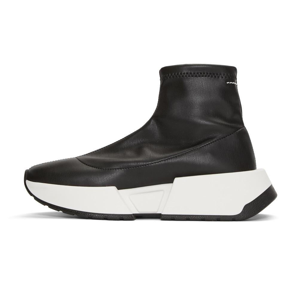 MM6 Maison Martin Margiela Black Second Skin Platform High-Top Sneakers cpjDAa6