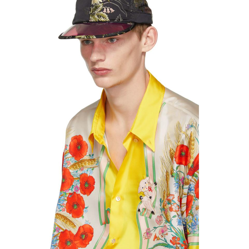 289442edb6332 Gucci - Multicolor Yellow And White Silk Flowers Shirt for Men - Lyst. View  fullscreen