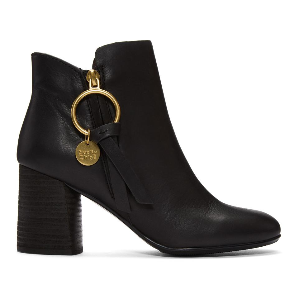 See by Chloé Black Louise Heeled Boots lQidh6Nd