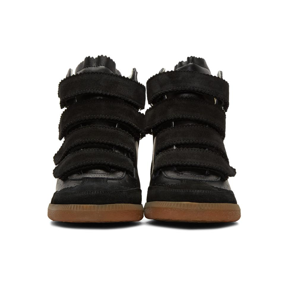 1f347b221e6 Isabel Marant Black Suede Bilsy Wedge Sneakers in Black - Lyst