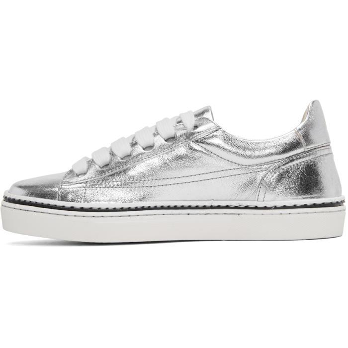 Jil Sander Navy Silver Leather Classic Sneakers in Metallic