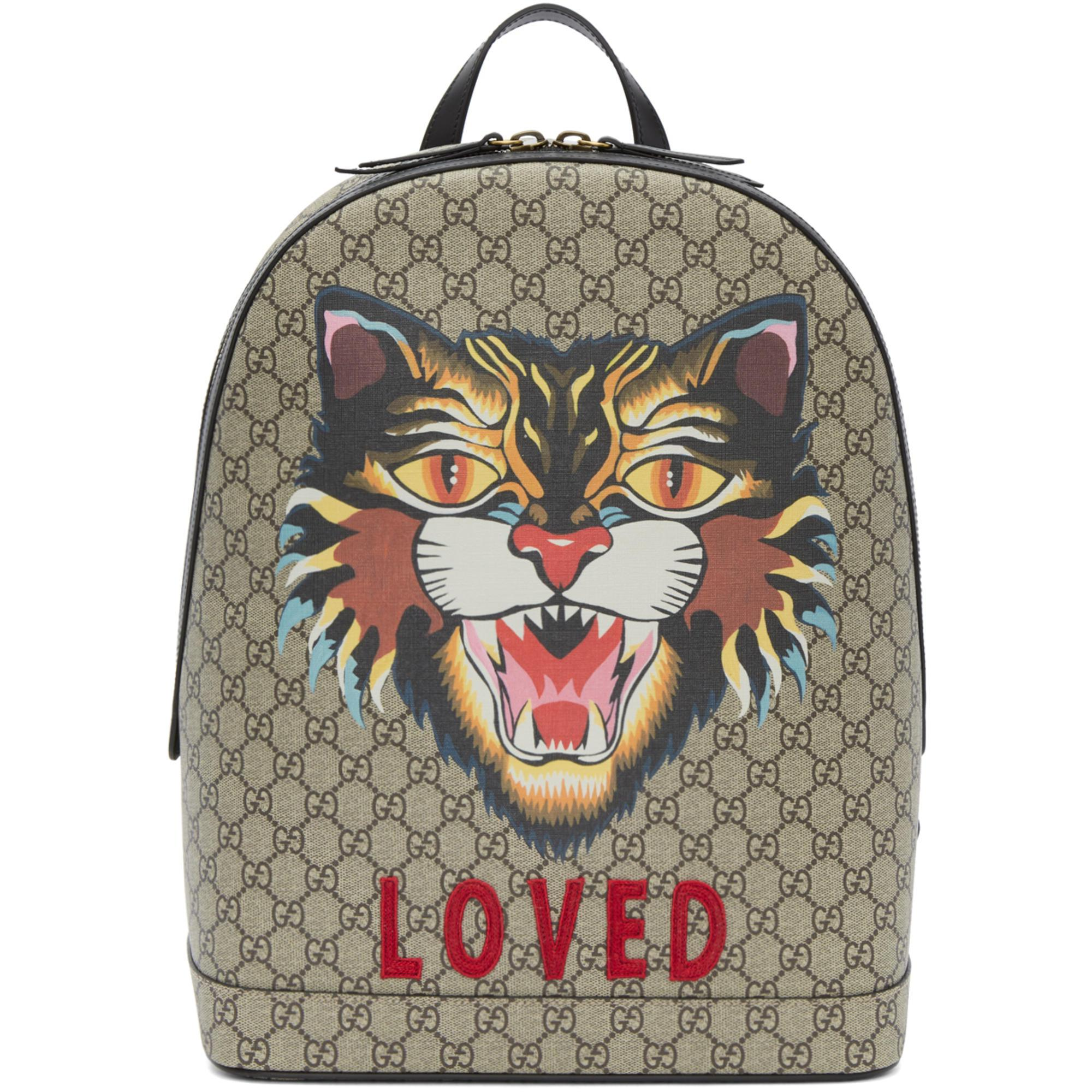 8cd0c893da4 Lyst - Gucci Beige Gg Supreme  loved  Angry Cat Backpack in Natural ...