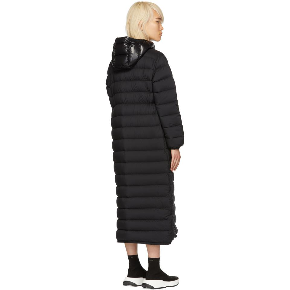 Moncler Synthetic Black Down Grue Coat Lyst